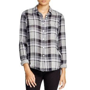 Current Elliott slim boy plaid gauze button - 1